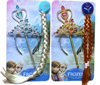 tiaras for kids - Frozen Anna Elsa Princess Tiara Crown Hair Band Magic Wand For Children Girl Mix Models Cartoon for Kids Christmas Stock Up