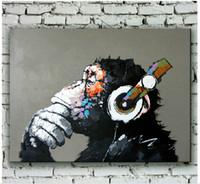 al por mayor amigos de pintura al óleo-Pintura al óleo animal pintada a mano moderna del chimpancé en lona Arte del orangután para la decoración de la pared o los mejores regalos a los amigos