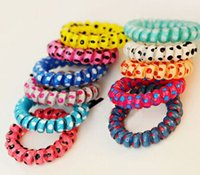 Wholesale Telephone Cord Elastic Ponytail Holders Hair Ring Scrunchies For Girl Rubber Band Tie