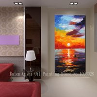 bars sunrise - 100 hand Paitned of bright and colorful abstract sunrise seascape bar oil paintings on canvas PC set