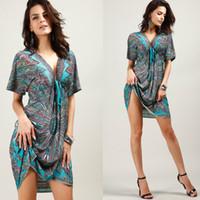 Wholesale Women s Dresses Code V collar short dresses sleeved slim sexy printed long beach united states beach dress