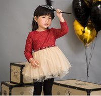 tunic tops - Autumn Korean Style Girls Rivet Waist Tunic Lace Flower Tops Long Sleeve Layered Tulle Cotton Party Dress Princess Red Black K4742