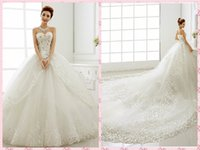 Wholesale Hot Cathedral Train Wedding Gowns Custom Made Luxury Sweetheart Neckline Lace up Wedding Dresses Lace Applique Crystal Sequins A14