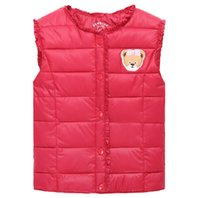 Wholesale Children of new fund of autumn winters down cotton Cartoon embroidered edge boys girls warm vest