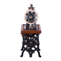 antique brass table - High Quality Analog Display Brass Sewing Machine Watch Shaped A Built in Clock Special Table Clocks Recall For The Passing Times