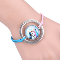 South American american queen bracelet - Frozen friendship infinity Bracelets Silver Sideways Charm Queen Elsa princess Anna Olaf infinity Love Wristbands F03
