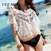 best v neck sweaters - Big size women LACE CROP TOP Hollow out white Lace Crochet sweaters bat sleeve beachwear best gift S469M