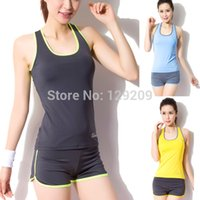 Wholesale NWT Women s Sport Suit Female Fitness clothing Vest Shorts Fitness Yoga Dance Clothes With Bra Pad