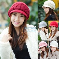 Wholesale Women s Autumn Winter Cotton Knitted Cap Knitted Hat Double Layer hats for women Candy Colors B16 SV005411