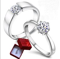 Wholesale Hot sell Jewelry men Rings Silver plated Women s ring silver plated ring Couple Rings simulation Platinum diamond ring lovers gift