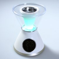 Wholesale White difusor de aroma Hourglass Shaped Aroma Heater LCD Display Screen Digital Clock Aroma Diffuser Night Light Humidifier