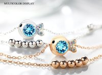 Wholesale Fashion Jewelry Fish Crystal Anklets Women Rose Gold Silver Sterling Couple Original Foot Ring Bell Christmas Gift