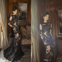 Crew long sleeve prom dresses - 2016 Vintage Lace Mermaid Evening Dresses Black Sheer Long Sleeves See through Sweep Train Celebrity Evening Prom Gowns BO5953