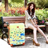 Wholesale 20 quot lovely animal zoo Trolley suitcase luggage rolling spinner wheels ABS PC traveller case Pull Rod trunk boarding bag