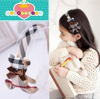 baby bear hair accessory - Classic Infants Baby Headbands Vintage Plaid Bear Girls Hair Sticks Children Headwear Party Hair Accessories Kids Headdress