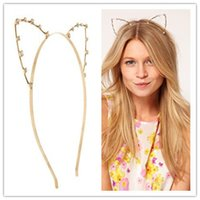 Others beaded head bands - Fashion Girl s Metal Sexy Cat Ear Head Band Pearl Tone Crystal Beaded Hair Band