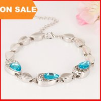 Wholesale Luxury drop gemstone charm bracelets women lover crystal tear link bangle cuffs fashion statement jewelry