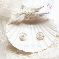 Wholesale Sea Shell Beach Wedding Ring Pillows Crystals Handmade Pearl Engaged Ring Boxes Shell Beach Theme Wedding Decorations Party Wedding Supplies