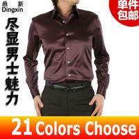 Cheap Free Shipping 2015 camisa social Dress Silk Shirt for Men Long Sleeve Casual Business Silk Shirts Man S-XXXL Coffee