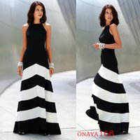 plus size maxi dress - 2014 Spring Summer Fashion Black And White Stripe Printed Casual Women Dress Sleeveless Long Maxi Party Dresses Plus Size S M L