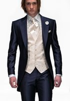 Wholesale Custom Men s Tailcoat Groom Wedding Tuxedos For Men Morning Suits For Best Man Groom Suit One Button Wedding Suits Slim Fitting