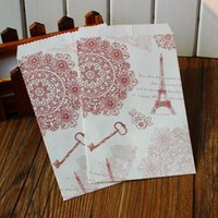 Wholesale Paris Eiffel Tower Paper Gift Bags with Seal Labels packaging flat bag
