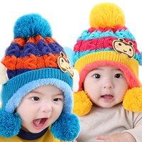 bee protection hat - Retail Winter Unisex Baby Stripe Earmuffs Beanie Ear Cap Kids Bee Earflap Ear Protection Warm Knit Hats T MZ3014