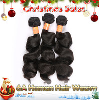Loose Wave indian virgin hair weft - Christmas Promotion Top A Brazilian Malaysian Indian Peruvian Hair Weave Bundles G Very Soft Loose Curly Human Virgin Hair Weft DHL