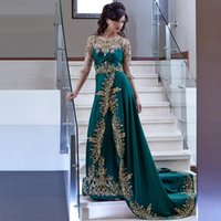 Wholesale Deep Green Evening Gowns With Gold Embroidery Beaded Lace Side Slit Chiffon Half Sleeves Evening Dresses Arabic