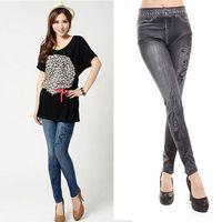 Wholesale Newly Womens Stretch Faux Denim Jeans Leggings Skinny Slim Pencil Pants