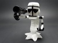 arms hands - New Design heady White and Black Armed Gun Pipes Glass smoking pipes Glass hand pipes
