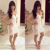 al por mayor 2014 prom party dresses-2014 ajuste delgado vestidos de festa vestidos de las mujeres del cordón del vestido de partido de baile diseño blanco de ganchillo atractivo del vendaje del vestido sin espalda