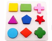 Wholesale 2016 New Baby Kids Wooden Learning Educational Toy Geometry Block Montessori Early Toys Puzzles