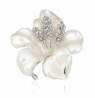 Wholesale Fashion Jewelry Elegant Rhodium Silver Plated Rhinestone Crystal Diamante Mix Color Narcissus Flower Brooch for Women