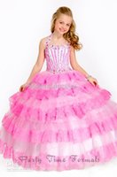 beaded overlays - 2014 New Arrival Hot Sale beaded lace overlays halter kids pageant dresses Flower Girl Dresses