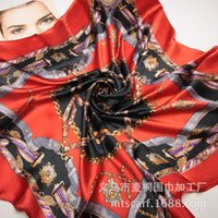 Wholesale The new chain belt splicing women H spring silk scarves large square scarf cm cm