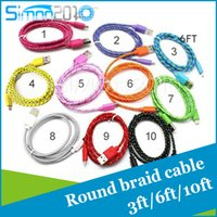 Wholesale 3m m m Fabric Braided Nylon Data Sync USB Cable ft ft ft Cord Charger Charging for samsung s7 S6 blackberry LG HTC