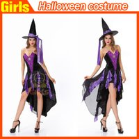 Cheap 2015 HALLOWEEN Purple dovetail the witch dress suit fashion hot Adult clothing with classical cosplay apparel
