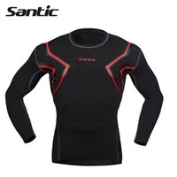 Wholesale Santic compression shirt sleeve men sport gym running t shirt fitness Base Layer tights men camisetas S XL
