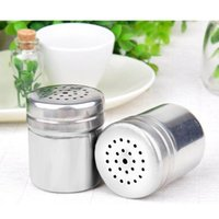 Wholesale 2015 Hot sale Mesh Design Stainless Steel Cruet Set Salt Pepper Seasoning Condiment Box Cooking Kictchen Tools Tool