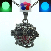 animal fragrance - Glow in Dark Beads Copper Black Plated Bird Animal Nice Cute Owl Locket Necklace Fragrance Perfume Aromatherapy Essential Oil Diffuser
