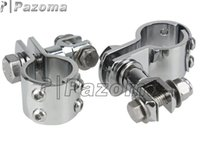 Wholesale PAZOMA quot Footpeg Clamps Motorcycle Billet Footpeg Clamp Chrome Aluminum Footrest Foot Peg Clevis Clamp
