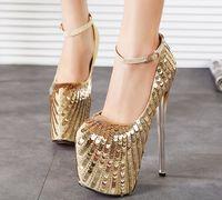 achat en gros de chaussures de mariage de paillettes d'or-Nouvelle Arrivée 7 pouces pompes Ankle Strap Closed Toe Plateformes Talons hauts 19cm Plate-forme Gold Glitter Mariage Chaussures