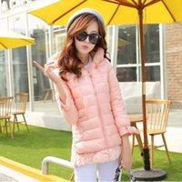 fur hooded jackets - 2014 Winter new Korean Slim nine points sleeve fake fur hooded jacket large size women tide