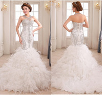 beauty and sexy - 2016 Sexy Silver Mermaid Feather Gowns Sweetheart Luxurious Crystals and Beading Heavily Covered Corset Bodice Beauty Pageant Evening Dress
