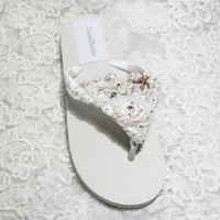 shell sandal - Luxury Wedding Shoes White Ivory Satin Flip Flops For Beach Wedding Bridal Wedding Slip Flops Shell Pearls Two Style Low Wedge Sandal