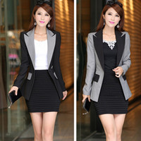 Wholesale 2015 New Fashion Blue Black Rose Gray Orange Jacket Female Suit Blazer Office Ladies Formal Business Work Wear Blaser For Woman