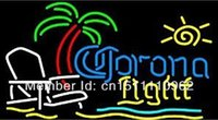 Wholesale Corona Light Beach chair palm tree Handcrafted Real Neon Glass Tube Beer Bar Neon Light Sign HQ