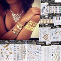 Wholesale 1 x Fashion Jewelry Metallic Gold Silver Temporary Tattoos Jewelry Flash Body Bling Styles
