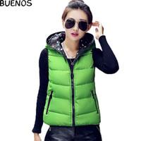 Cheap Wholesale-Women Autumn Winter Vest Waistcoat Jacket 2015 Ladies Sleeveless Jacket Coat Plus Size Polka Dot Hooded Cotton Vest Female BN482
